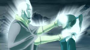 Avatar Korra receiving the Blessing of Healing from Avatar Aang